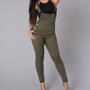 Olive Green Overalls From Fashion Nova
